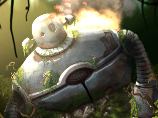 Lost Robot - Another Studio Ghibli inspired theme, this time from robot in the movie Castle in the Sky.I liked the idea of an old robot left in the forest with nothing but wildlife surrounding it.