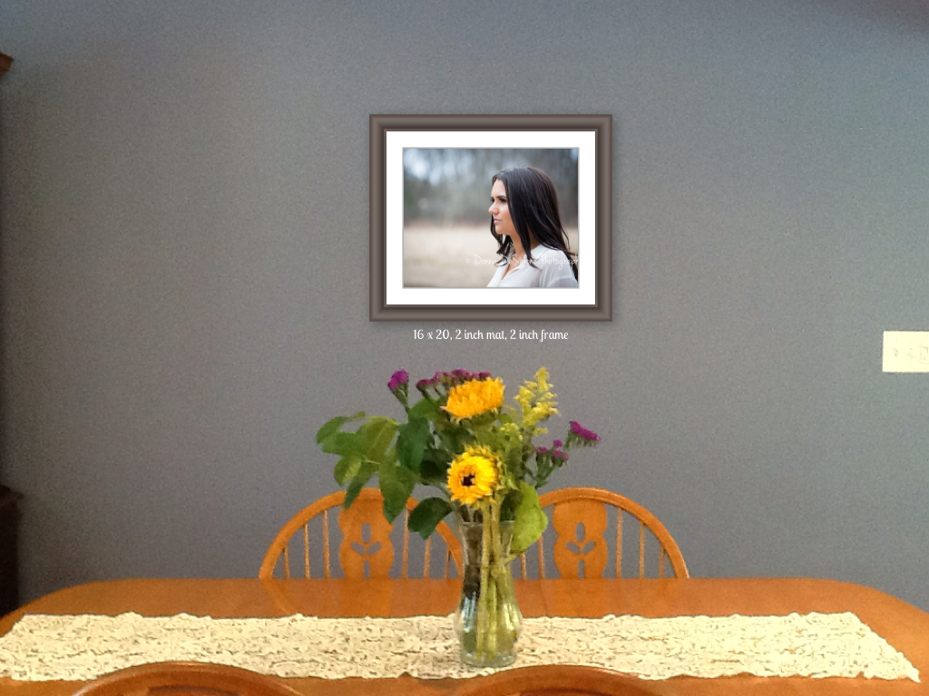 16x20 print matted and framed to 20x24. Wall is 9 feet wide.