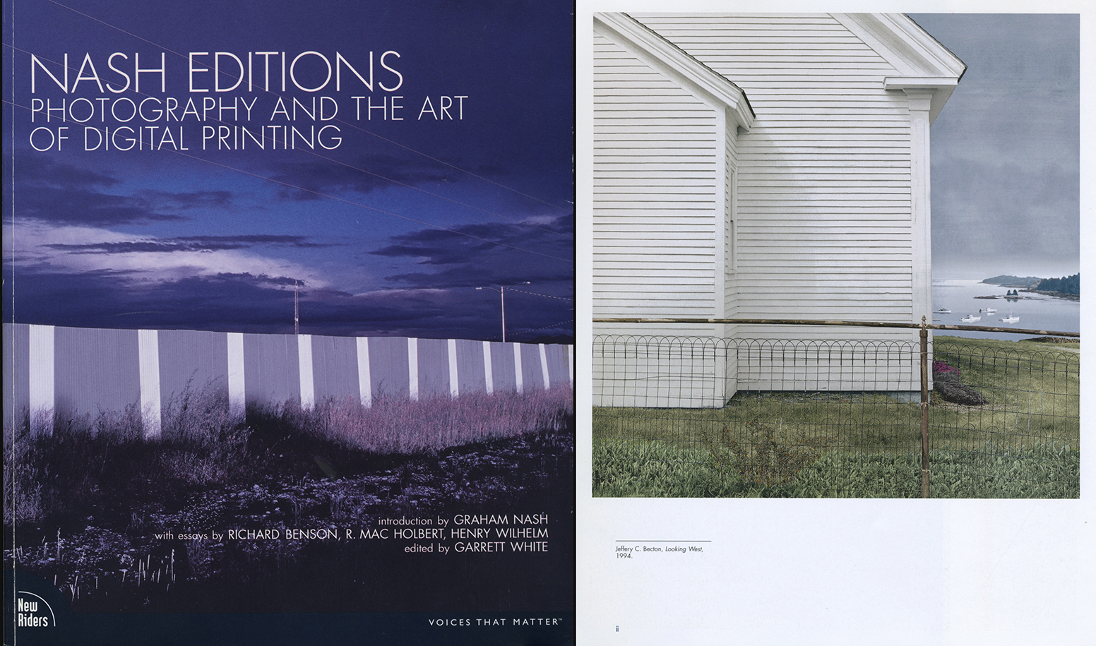 """left NASH EDITIONS Photography and the Art of Digital Printing, publ. 2007 by New Riders, Berkeley CA right, inside cover, """"Looking West"""", 1994, Jeffery C. Becton Digital print"""