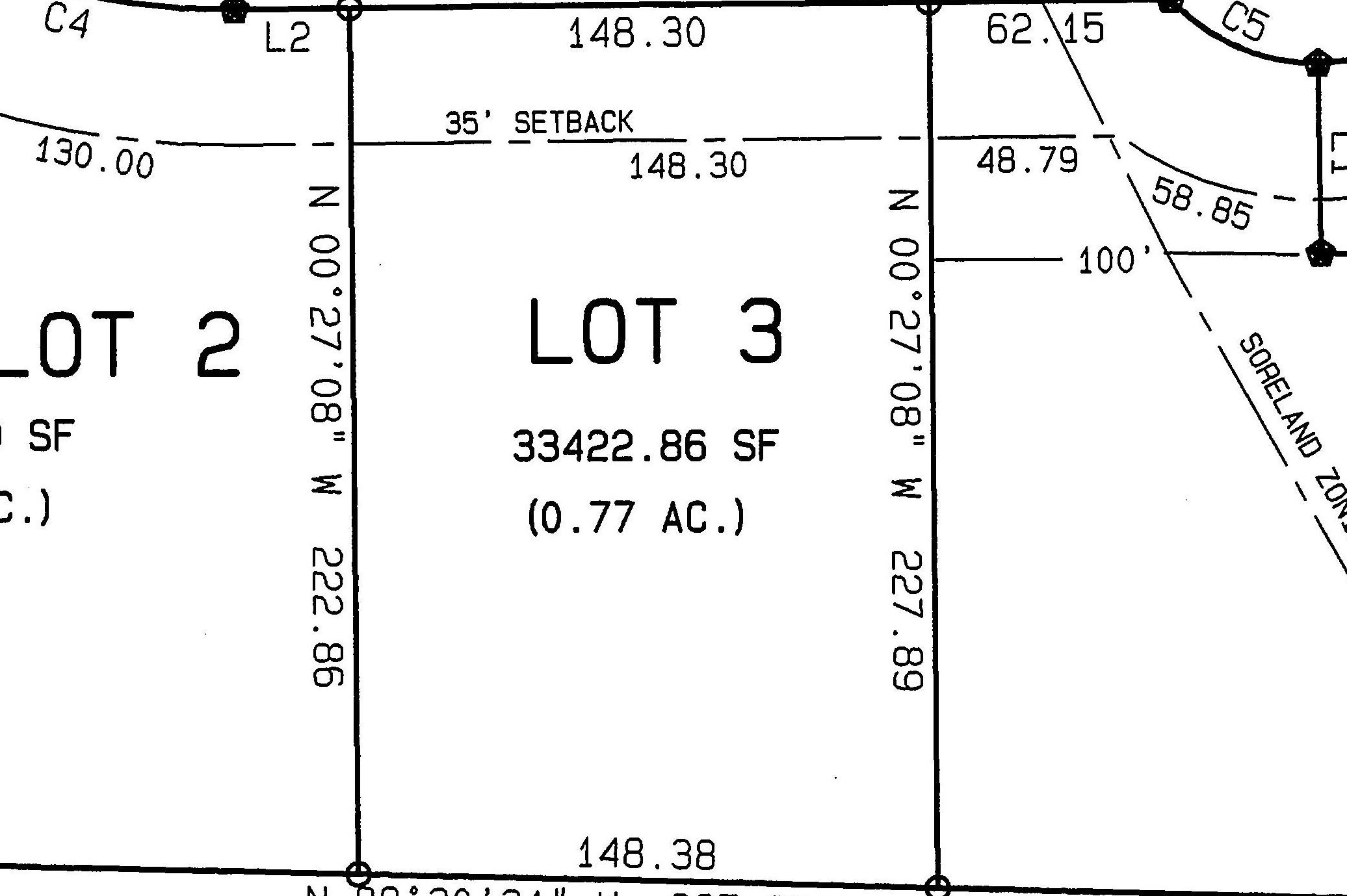 Lot 3: .77 Acres  – RESERVED