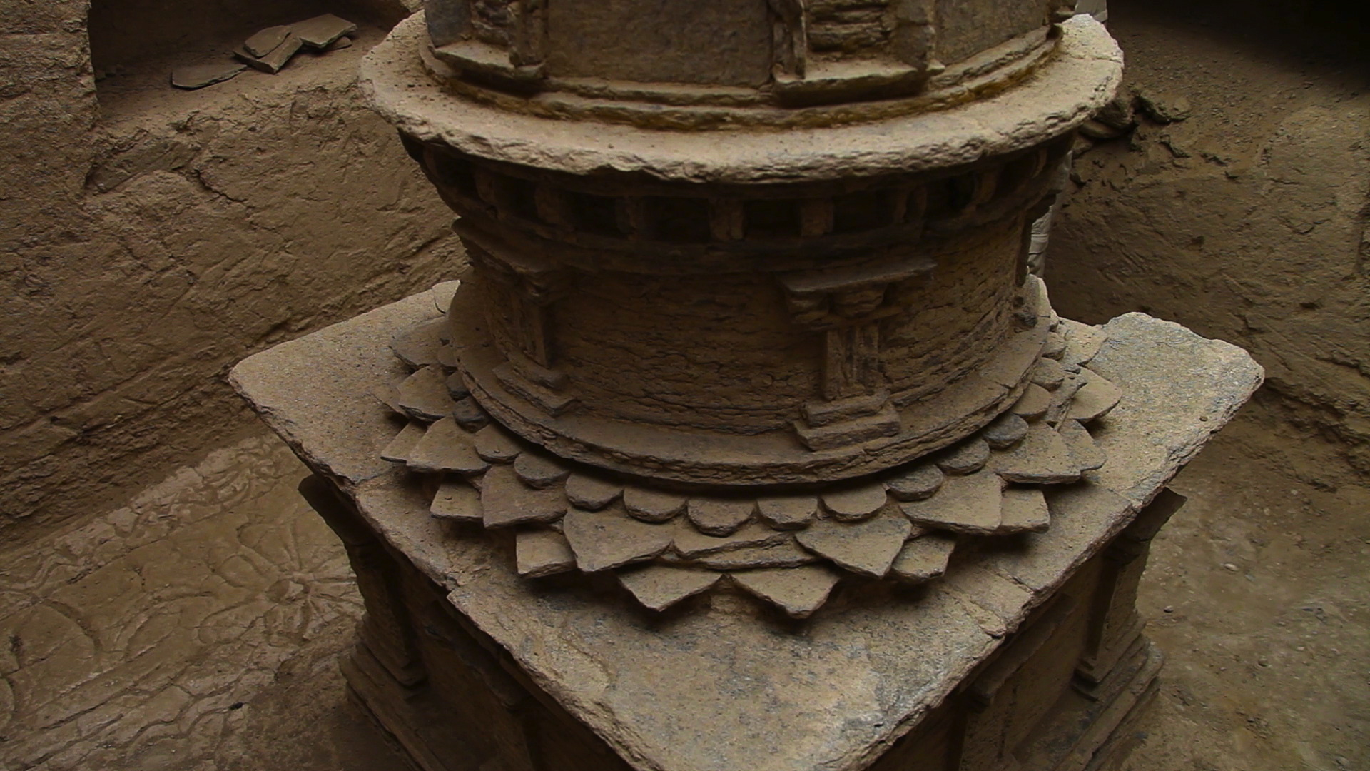 A stunning Buddhist stupa discovered at the site.
