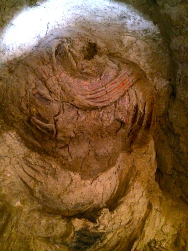 One of the three newly discovered Buddha statues found at Mes Aynak this year, 2015.