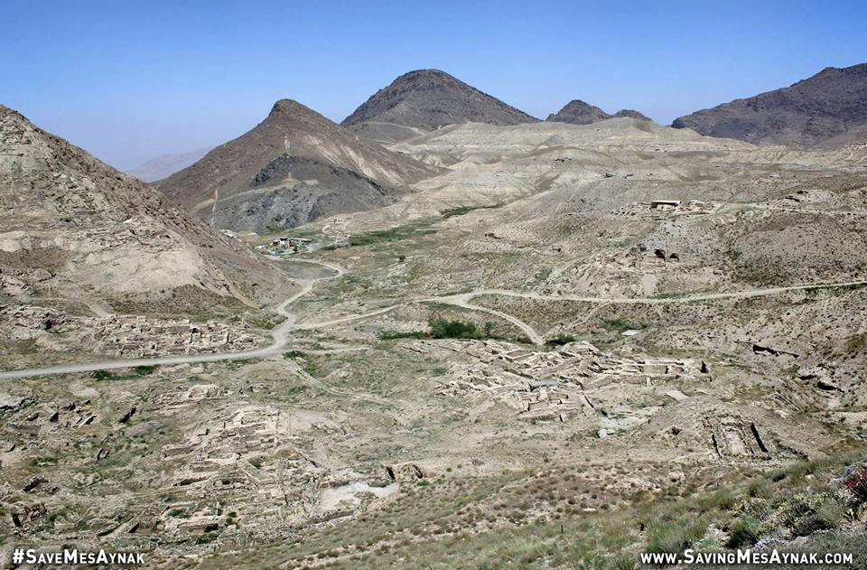 A recent photo of Mes Aynak, taken in June 2015. This massive site, equal in size to Pompeii and Machu Picchu, is already re-writing the history of Afghanistan and Buddhism. 90%of the site remains unexcavated, and if plans to mine at the site continue as currently constructed, all of this history will be lost forever.