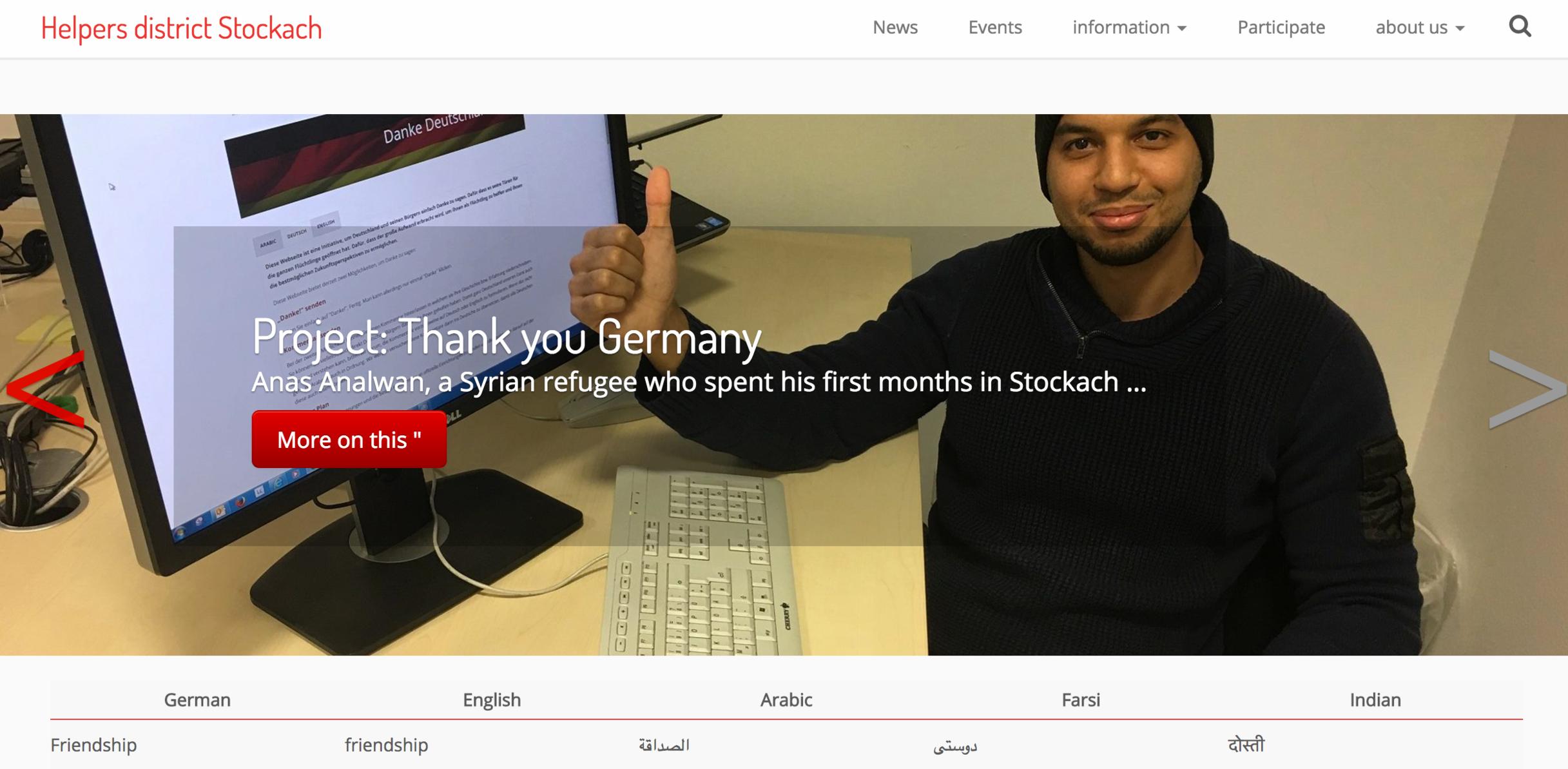 Pic: Front page of the Refugee Help site of Stockach:https://helferkreis-stockach.de/
