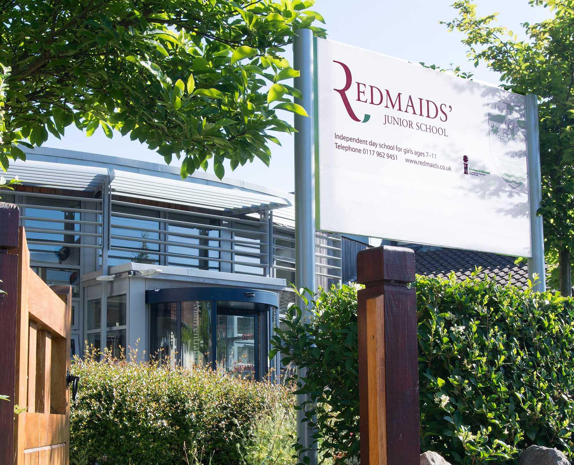 RedMaids' Junior sign
