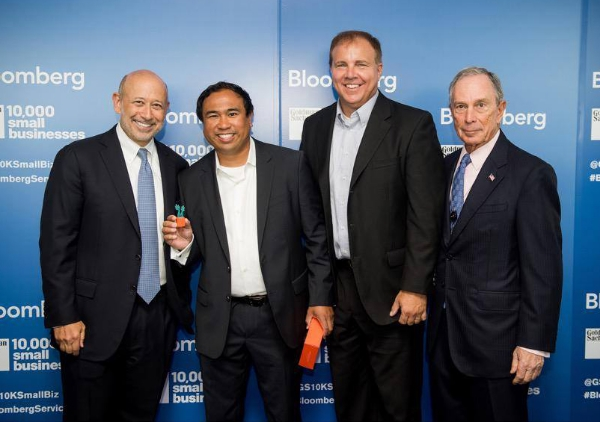Michael Antaran, CEO of Marvel Apps and Carrot Pass LLC, is pictured here with Lloyd Blackfein, CEO of Goldman Sachs; Mike Murray, VP of Marketing & Communications for CARROT pass; and Michael Bloomberg in New York City.