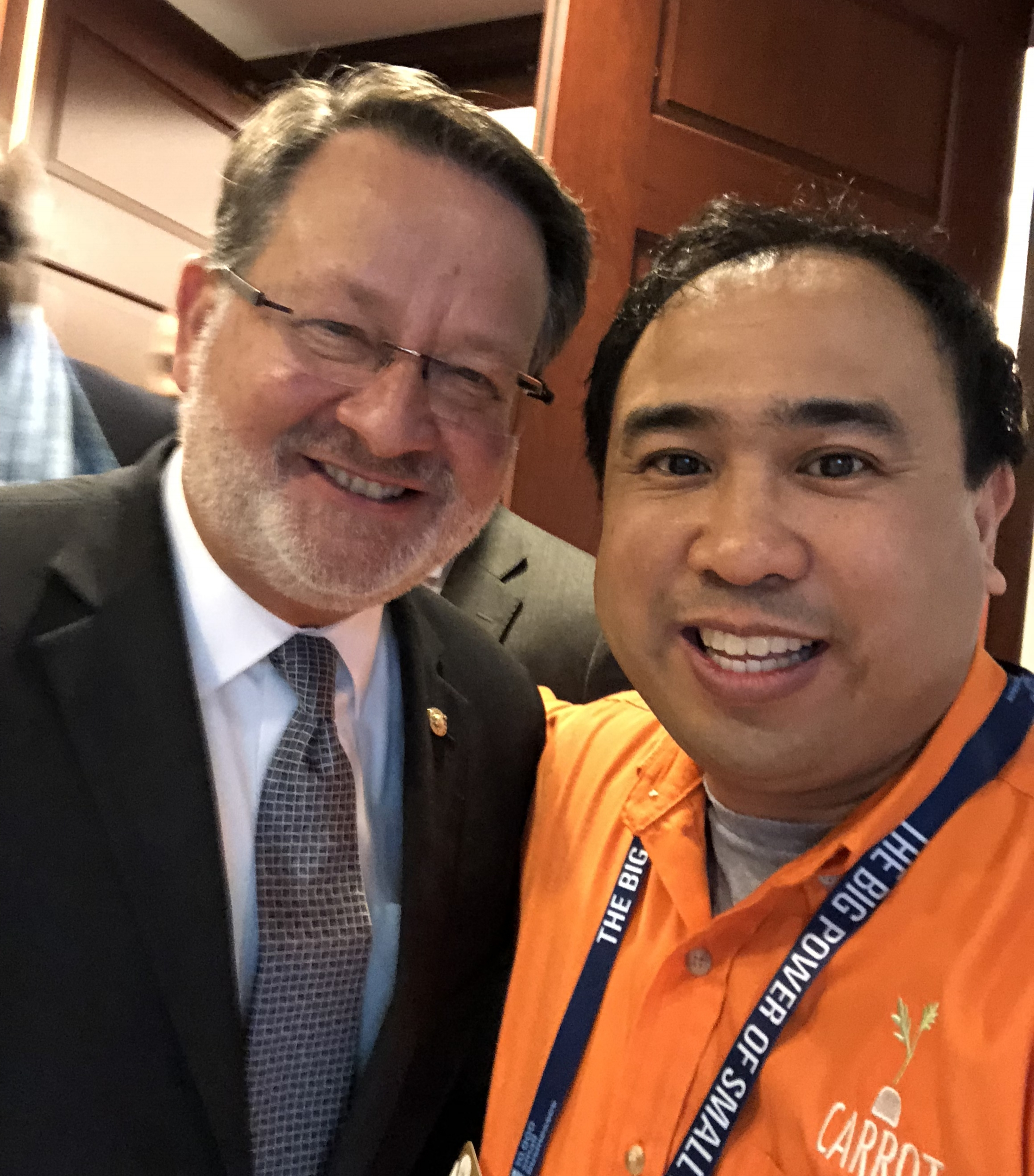 U.S. Senator Gary Peters (MI) with CARROT Founder & CEO Michael Antaran.