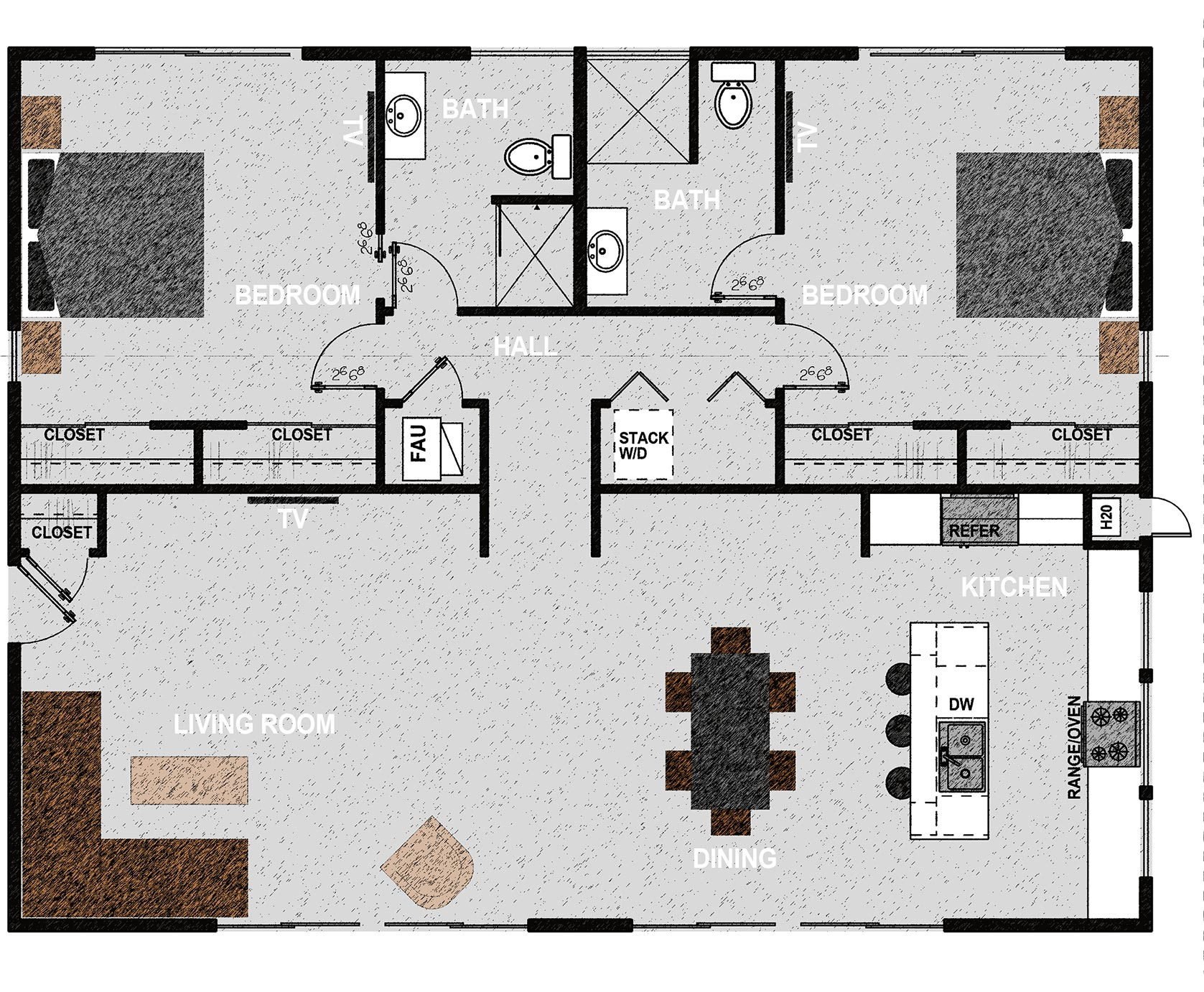 The HM1496 - HM1496 consists of two bedrooms, two bathrooms, laundry room and open kitchen, dining room and living room. It offers 1,496 square feet of conditioned living space. Exterior dimensions are approximately 44' x 34'