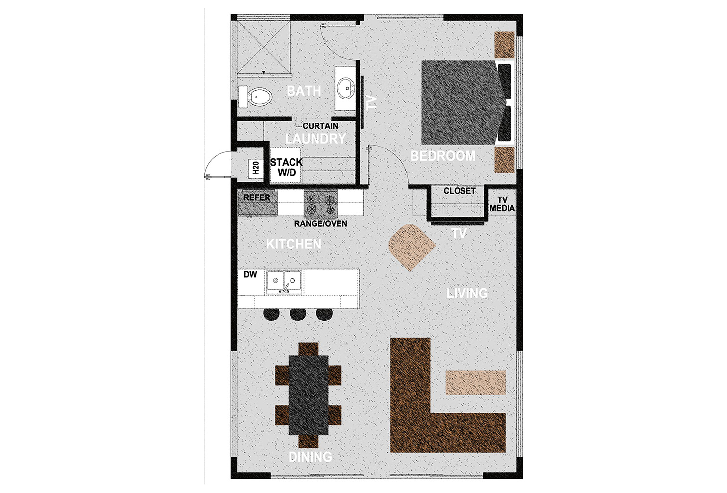 HM770 - The home consists of one bedroom, one bathroom, laundry room and open kitchen, dining room and living room. It offers 770 square feet of conditioned living space. Exterior dimensions are approximately 35'x22'.