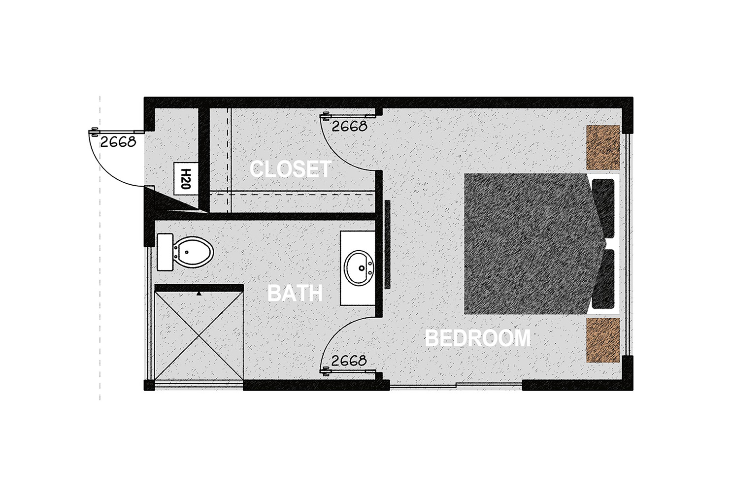 HM288 - The home consists of one bedroom, one walk in closet, an exterior mechanical room, and one bathroom. It offers 288 square feet of conditioned living space. Exterior dimensions are approximately 22' x 13'.