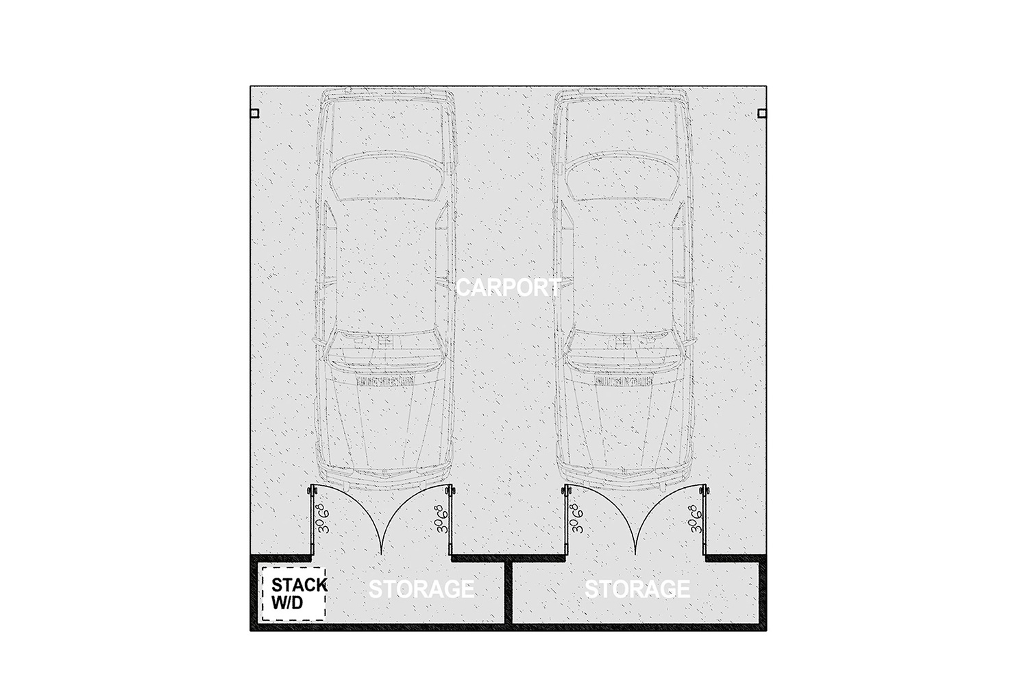 HMCP - Parking for two vehicles and two ample storage closets. It offers approximately 785 square feet of covered parking on a 510 square foot concrete slab.