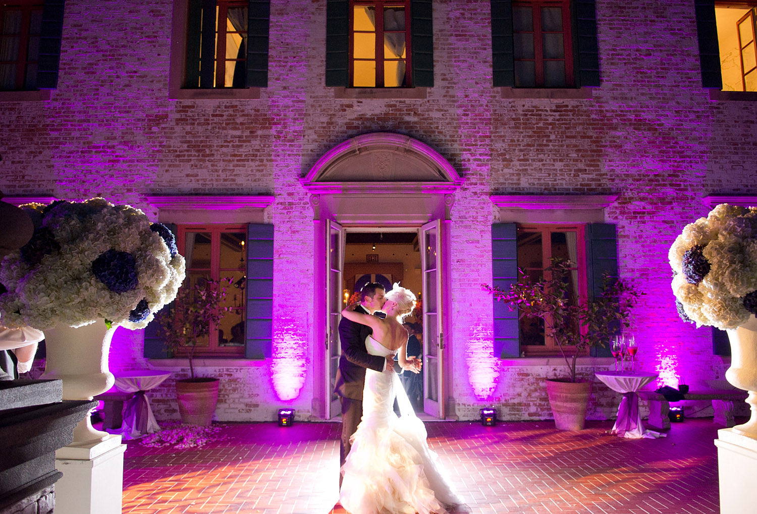 the bride and groom share their first dance on the terrace of the Villa Terrace Italian Wedding Venue photographed by Destination WEdding photographer, Lexia Frank who photographed this wedding on film