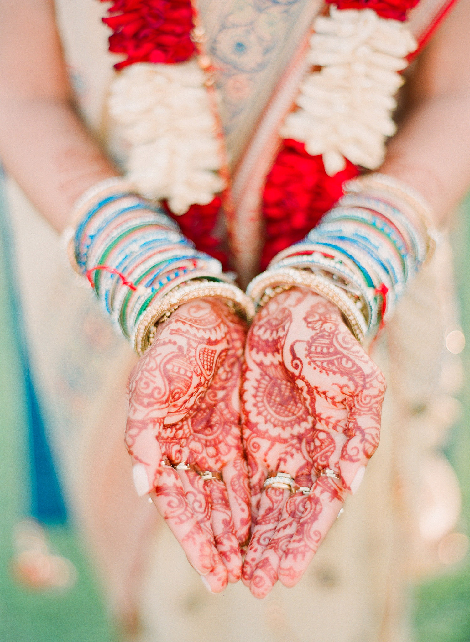hindu bride's mehndi design made with henna at this Indian Wedding in Florida photographed by Destination Wedding Photographer, LExia Frank - a top indian wedding photographer - who shoots film for luxury indian weddings preferring the soft skin tones and vibrant colors for indian weddings in india and worldwide