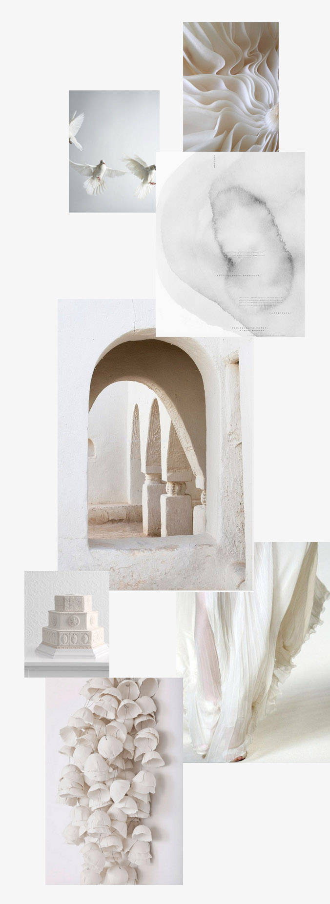 Lexia Frank is a destination wedding photographer based on the west coast of the USA. she is a film photographer for weddings, shooting celebrity weddings and luxury weddings worldwide. here, is an all white wedding inspiration board.