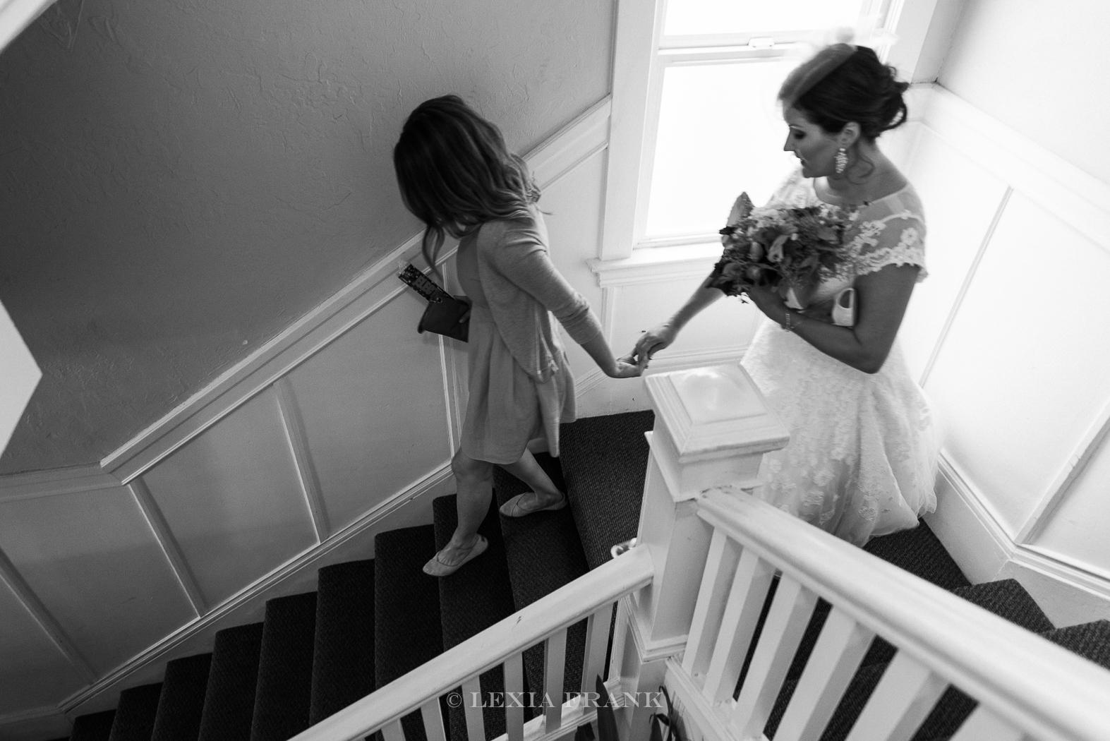 Destination Wedding Photographer Lexia Frank - a portland fine art film photographer - photographs a San Francisco City Hall Wedding in San Francisco as bride gets ready. www.lexiafrank.com