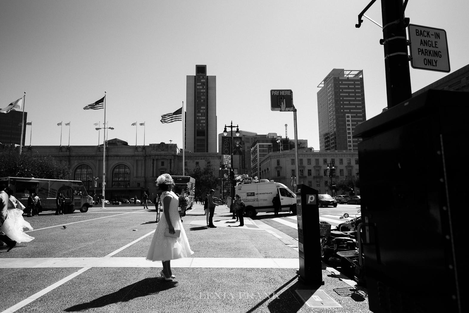 Destination Wedding Photographer LExia Frank - a portland oregon fine art film photographer- documents this San Francisco City Hall wedding as the bride heads to the courthouse. www.lexiafrank.com