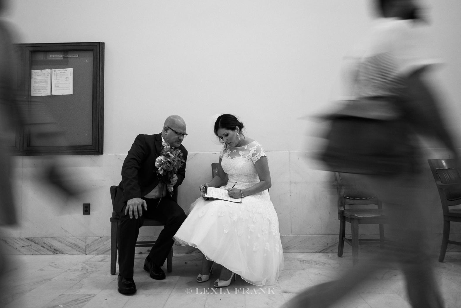 Destination wedding photographer Lexia Frank- a portland oregon fine art film photographer - photographs a San Francisco City Hall wedding in san francisco in film www.lexiafrank.com