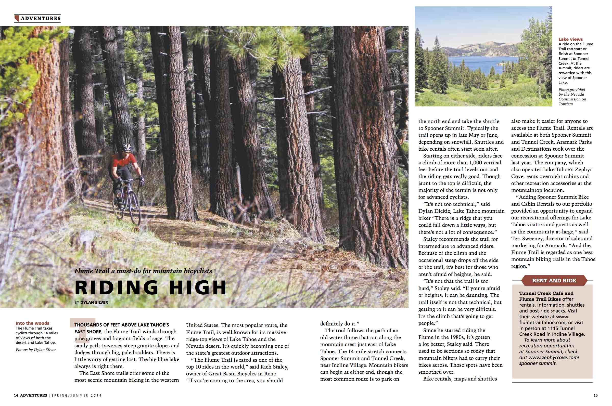 Riding High —  Lake Tahoe's Flume Trail a must-do for mountain bikers  / Gannette / April, 2014