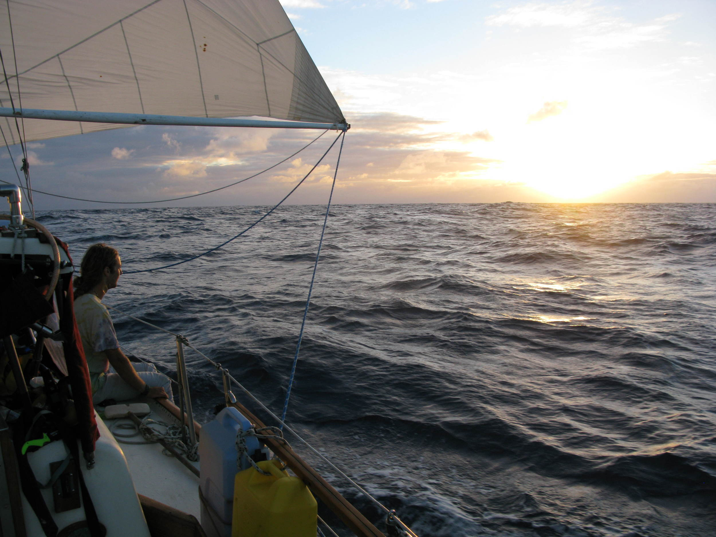Sunset in the middle of the Pacific.