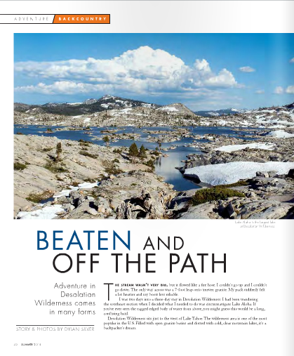 Beaten and Off the Path:  Adventures in Desolation Wilderness come in many forms /  Tahoe Magazine / June, 2015