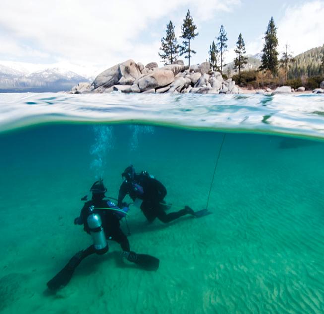 Tahoe's Silent World : Scuba divers roam the depths of Big Blue /  Tahoe Quarterly / July, 2015