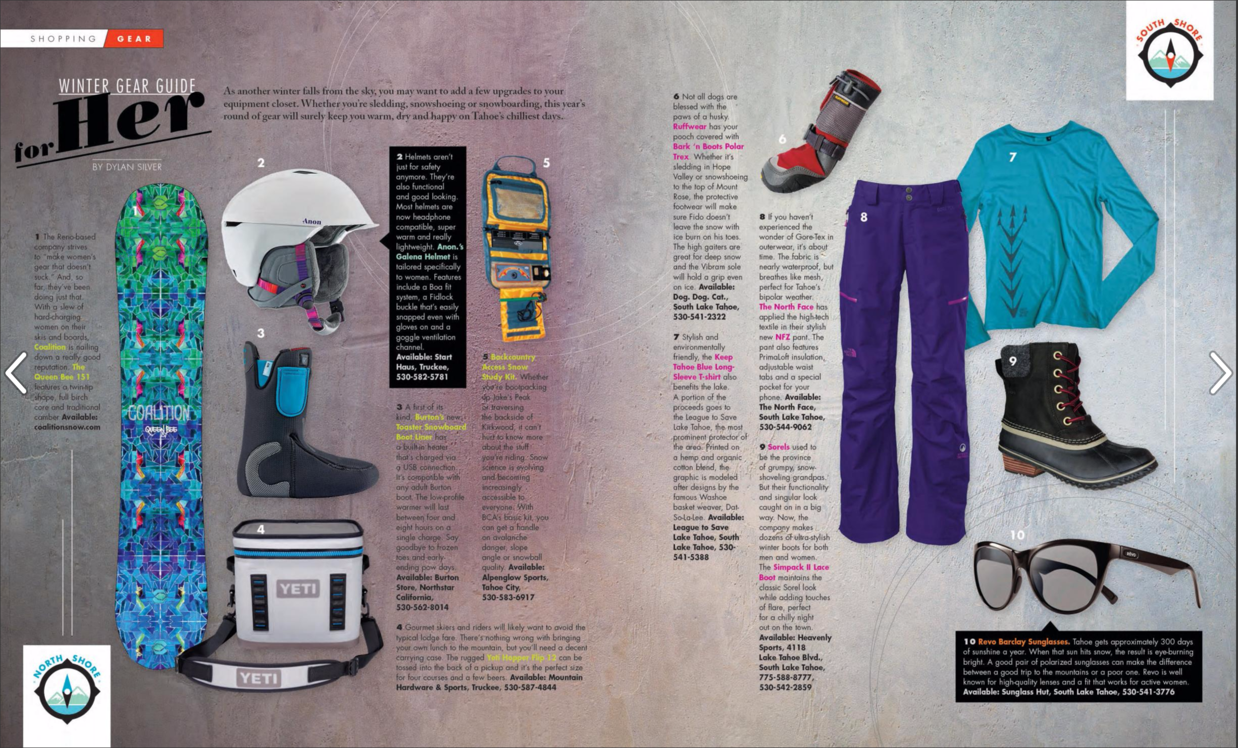 Gear for the Gals: Winter Gear Guide / Tahoe Magazine / December, 2016