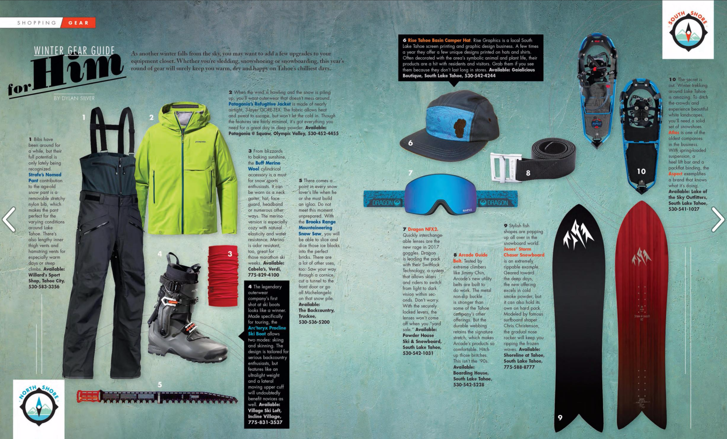 Gear for the Guys: Winter Gear Guide / Tahoe Magazine / December, 2016