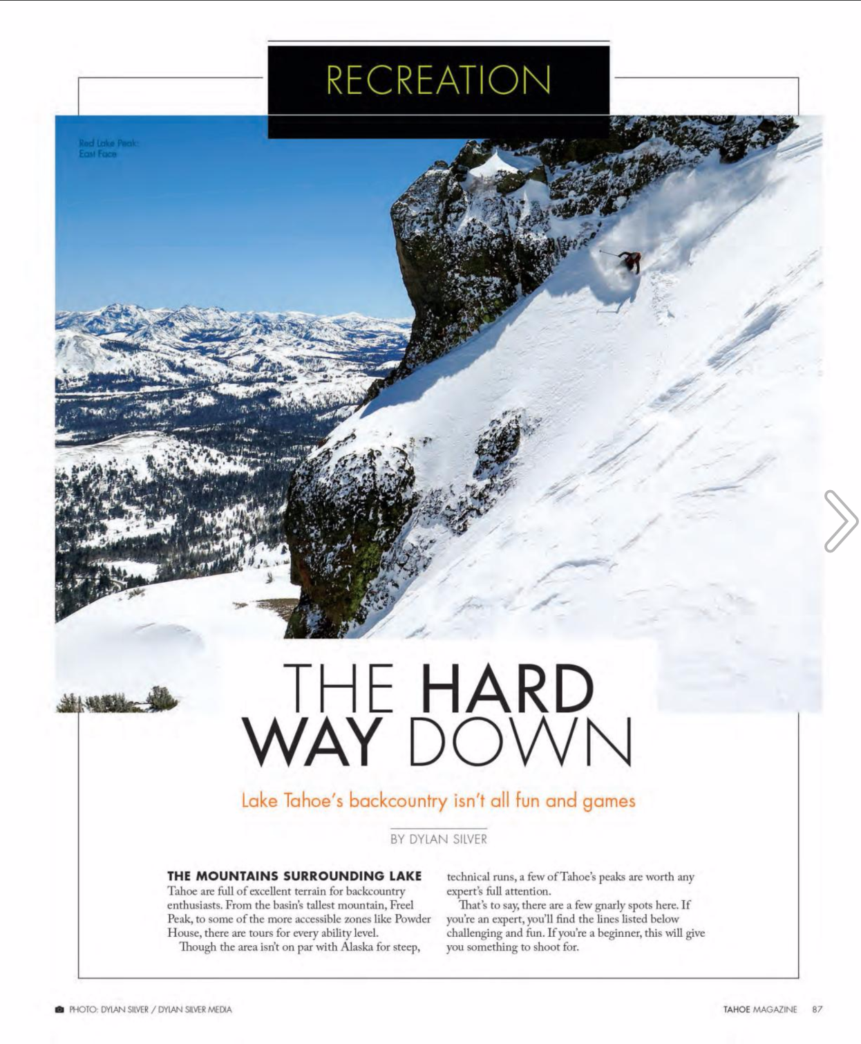 The Hard Way Down:  Five of Lake Tahoe's most technical backcountry runs /  Tahoe Magazine, December, 2016