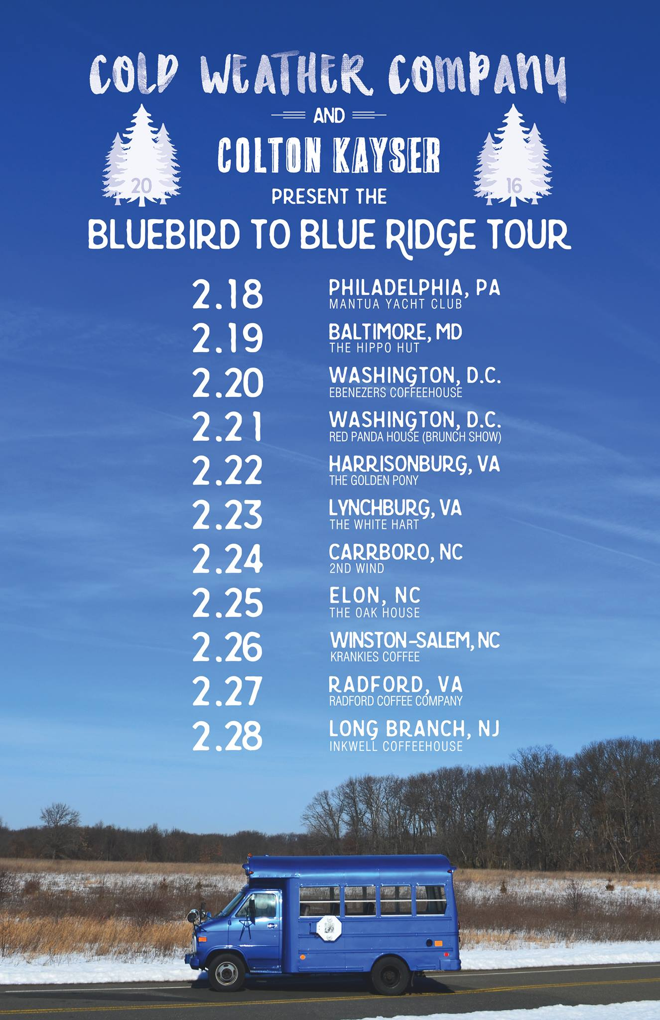 2.18.16 - We took Bluebird on its biggest test yet, the 'Bluebird to Blue Ridge Tour' -and made it back in one piece!