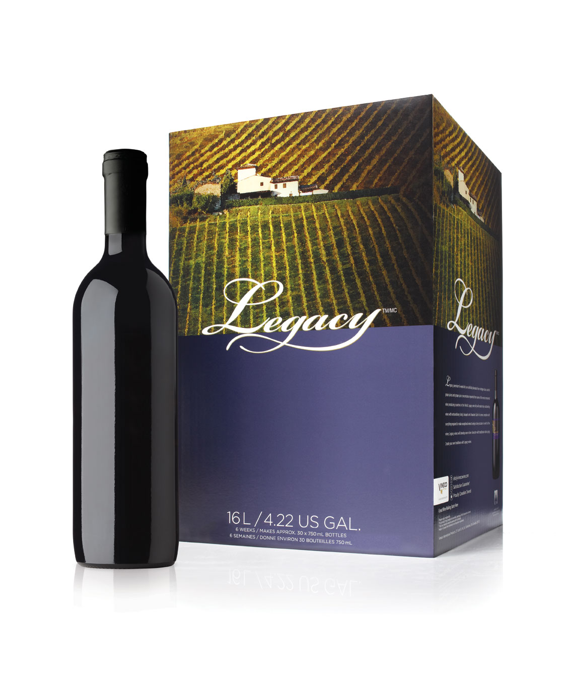 - Memorable moments, celebrations reminisced, traditions shared: these are the legacies of life and the sentiments personified in Legacy's premium wine kits. Their premium varietal grape juices and concentrates produce wines of distinction with outstanding body, bouquet, and character.