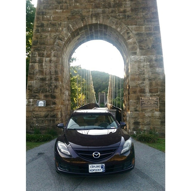 The Explore Kentucky Mobile in front of the Pauley Bridge in Pikeville, Kentucky,  @ExploreKentucky