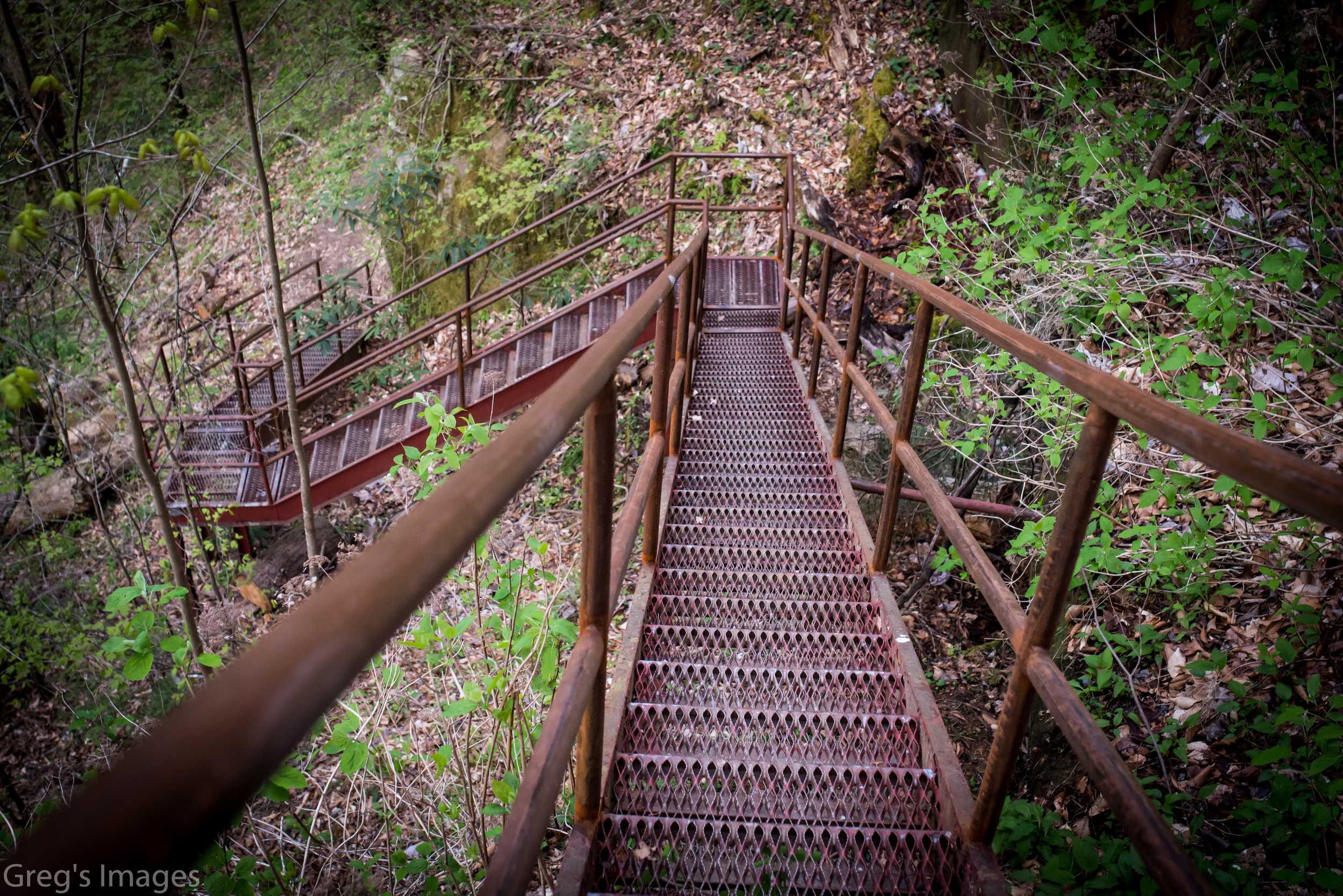 A steep set of stairs await those hiking to the falls.
