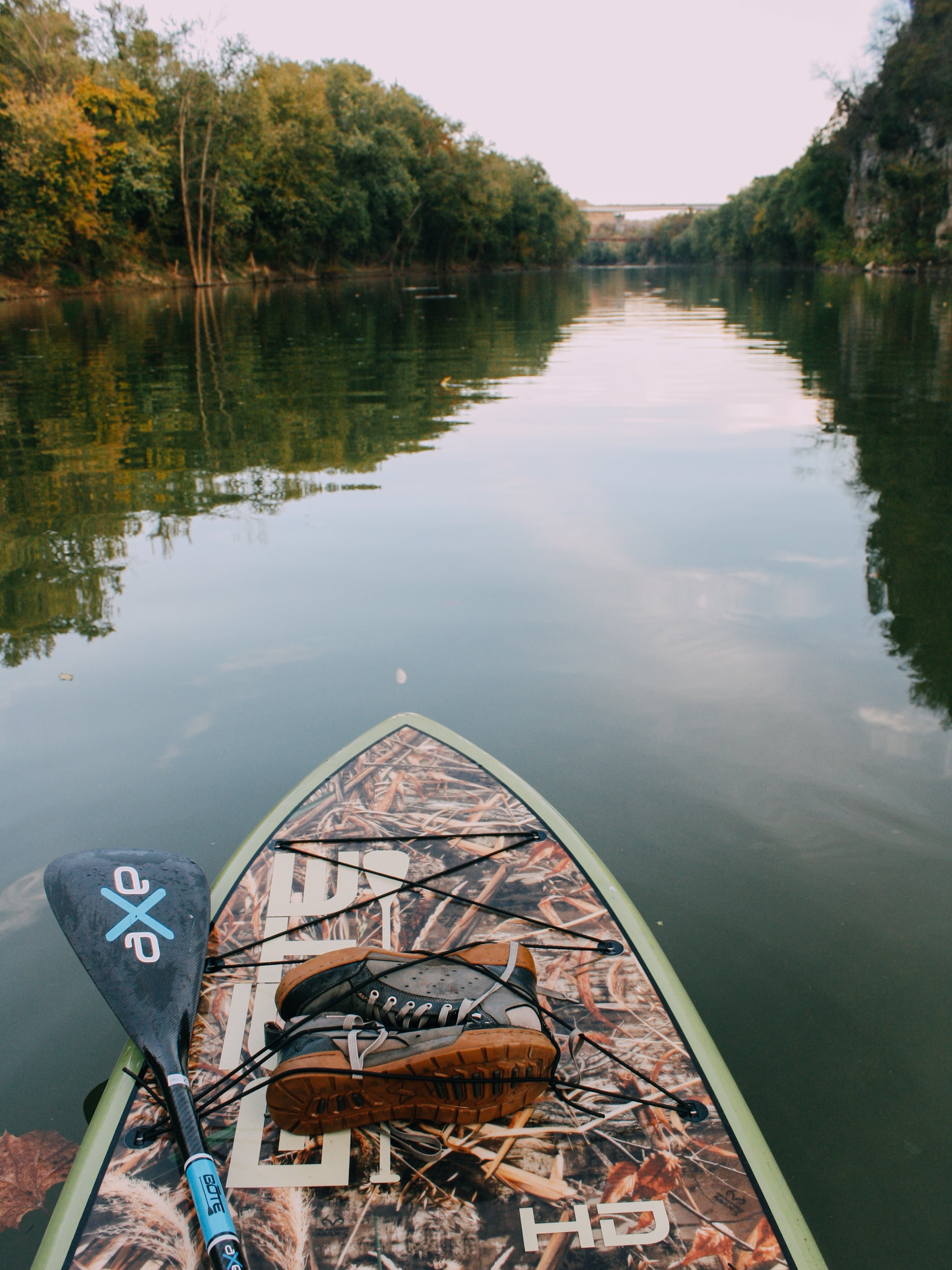 My most favorites pieces of gear, my  Boteboard HD ,  The Bote Axe paddle , and my Forsake Pilots.
