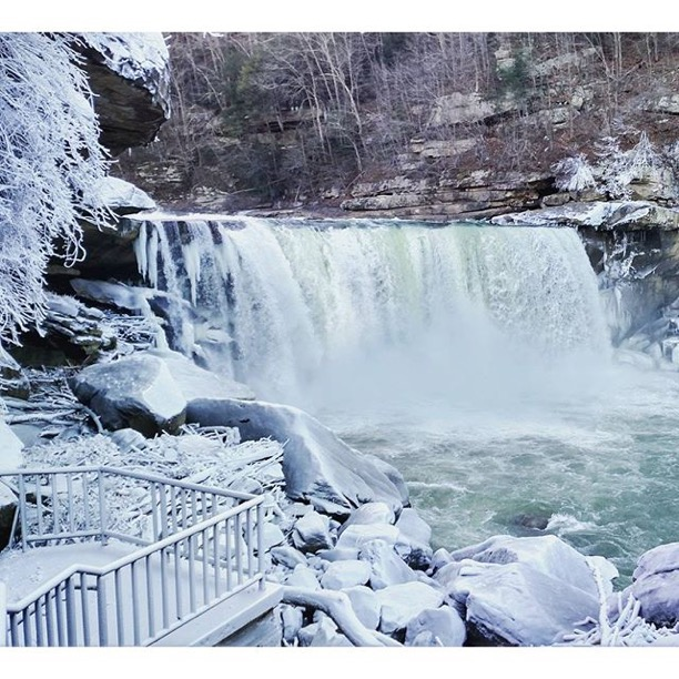""""""" Quick pit stop at Cumberland Falls! Everything was covered in thick ice from the frozen mist"""" Cumberland Falls, Corbin, Kentucky  Photo via Instagrammer  @cecelynch317"""