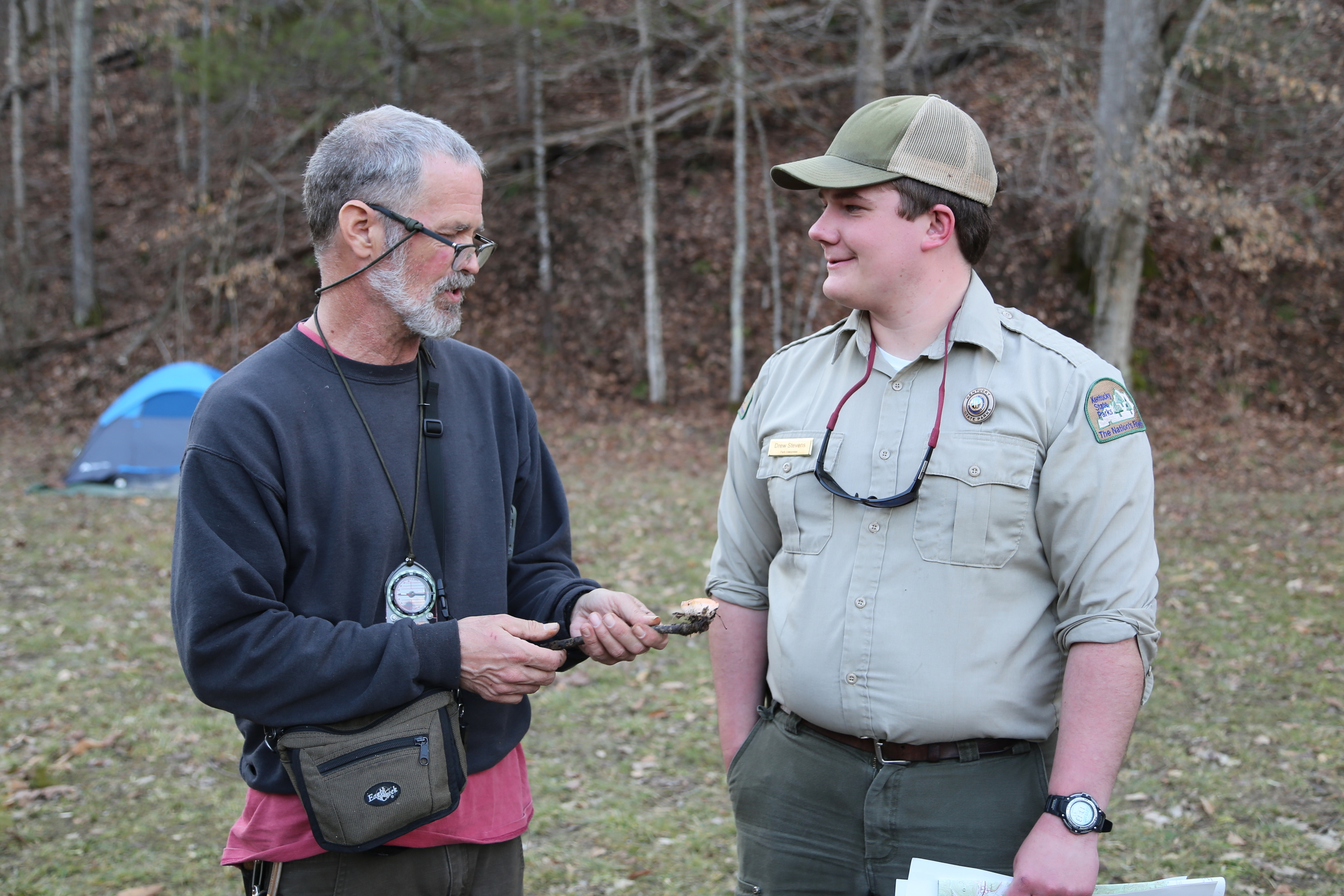 Survival expert John Rose and park naturalist Drew Stevens. Photo by Todd Nystrom.