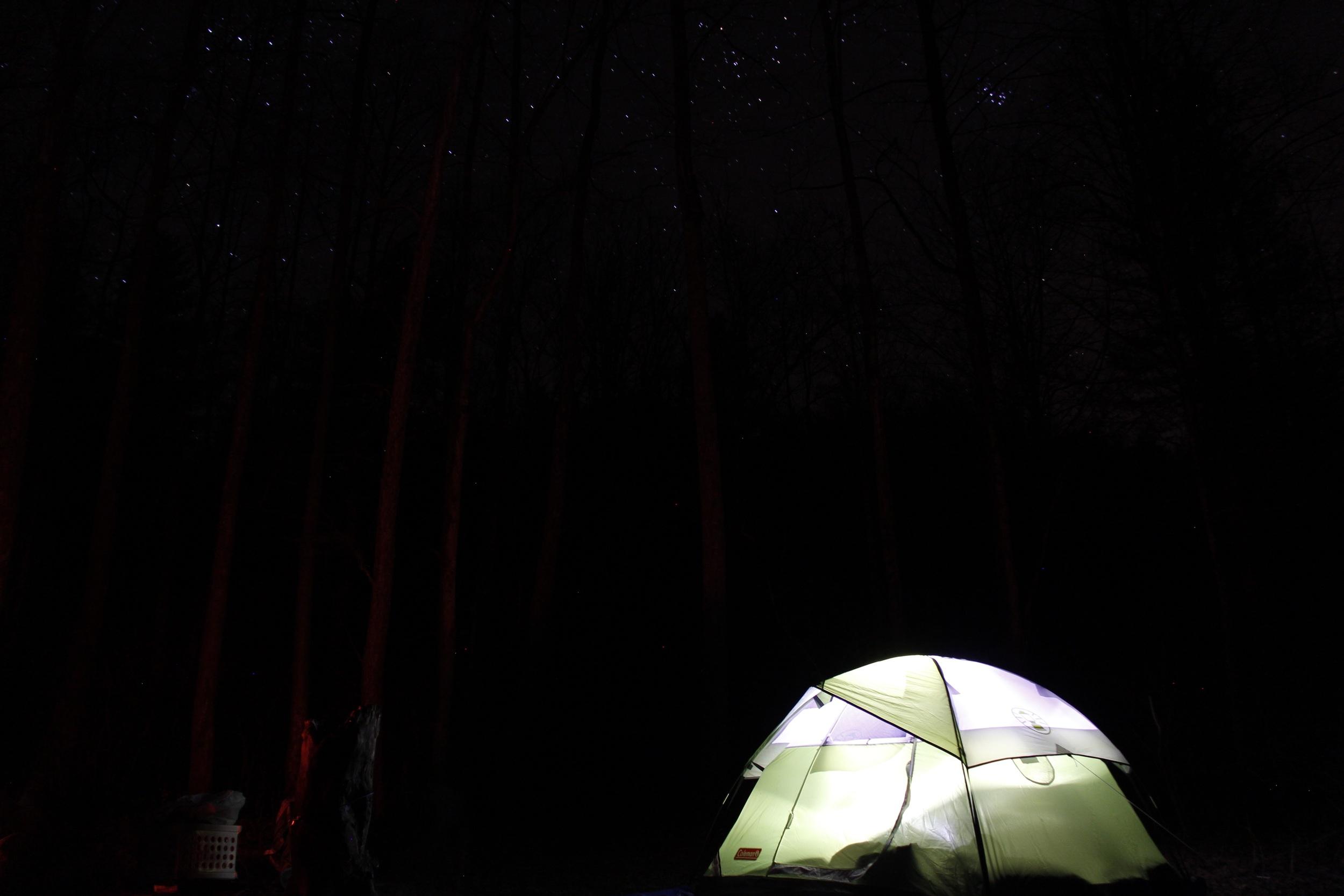 A little light inside of a little tent inside of a big forest.