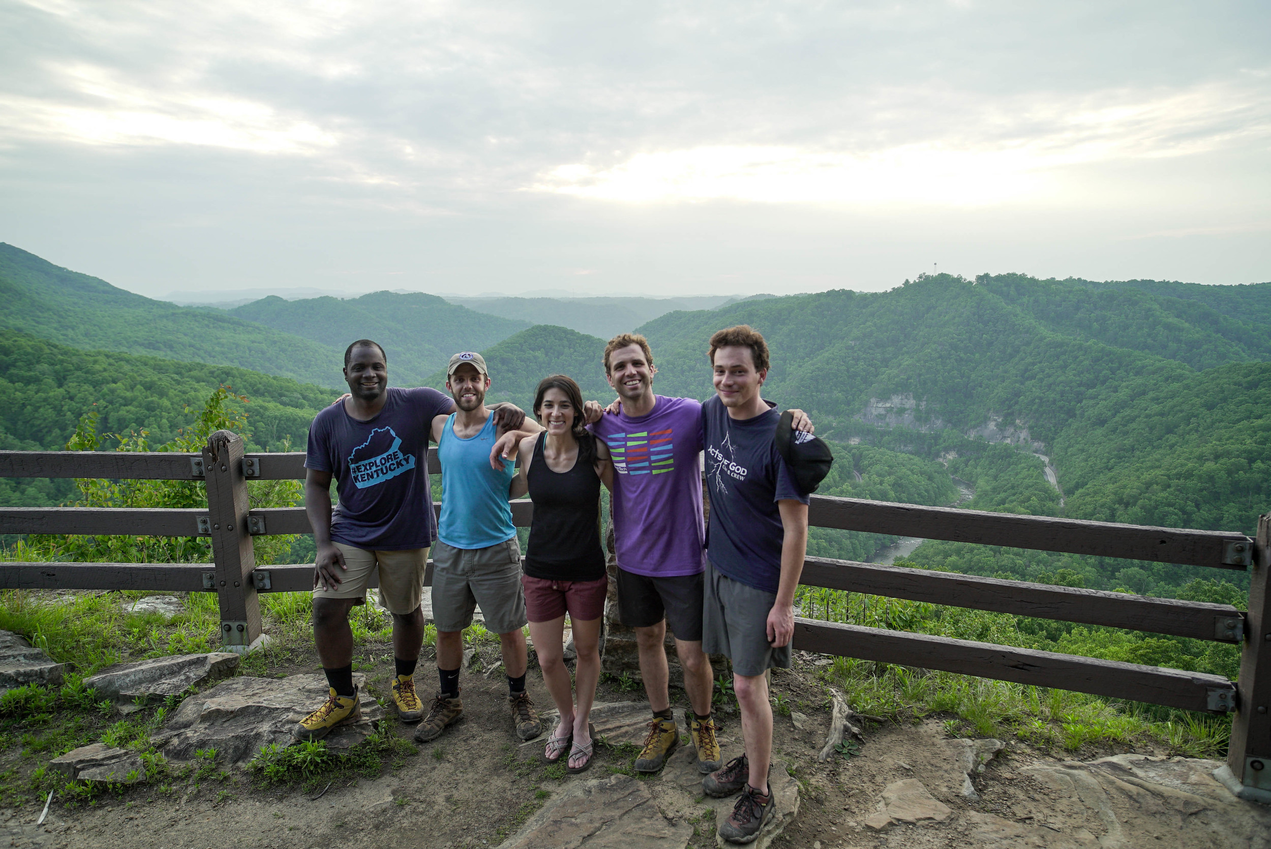 The first officially sanctioned group of climbers from left to right: Gerry Seavo James, Director of The Explore Kentucky Initiative, Travis Rawlings, a climber and close friend of the author, Kylie Schmidt, Zach Lesh-Huie, Southeast Regional Director & National Affiliate Director for the Access Fund, and Nate Spicer, a climber and filmmaker.