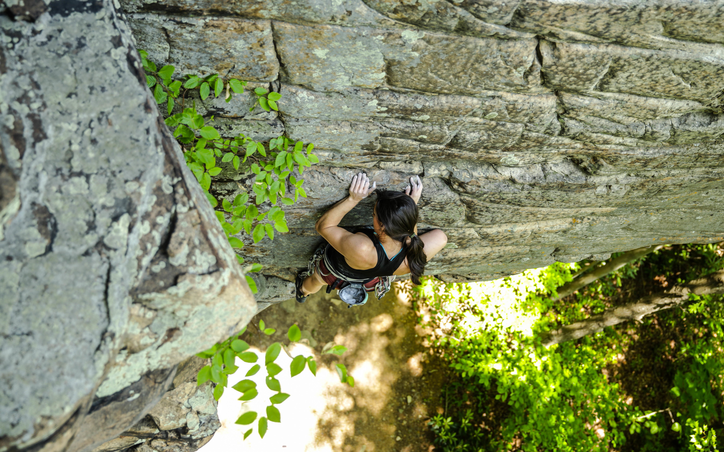 Kylie starting the vertical section on Breaking a Cold Sweat, 5.11+.Photo:  Gerry Seavo James .