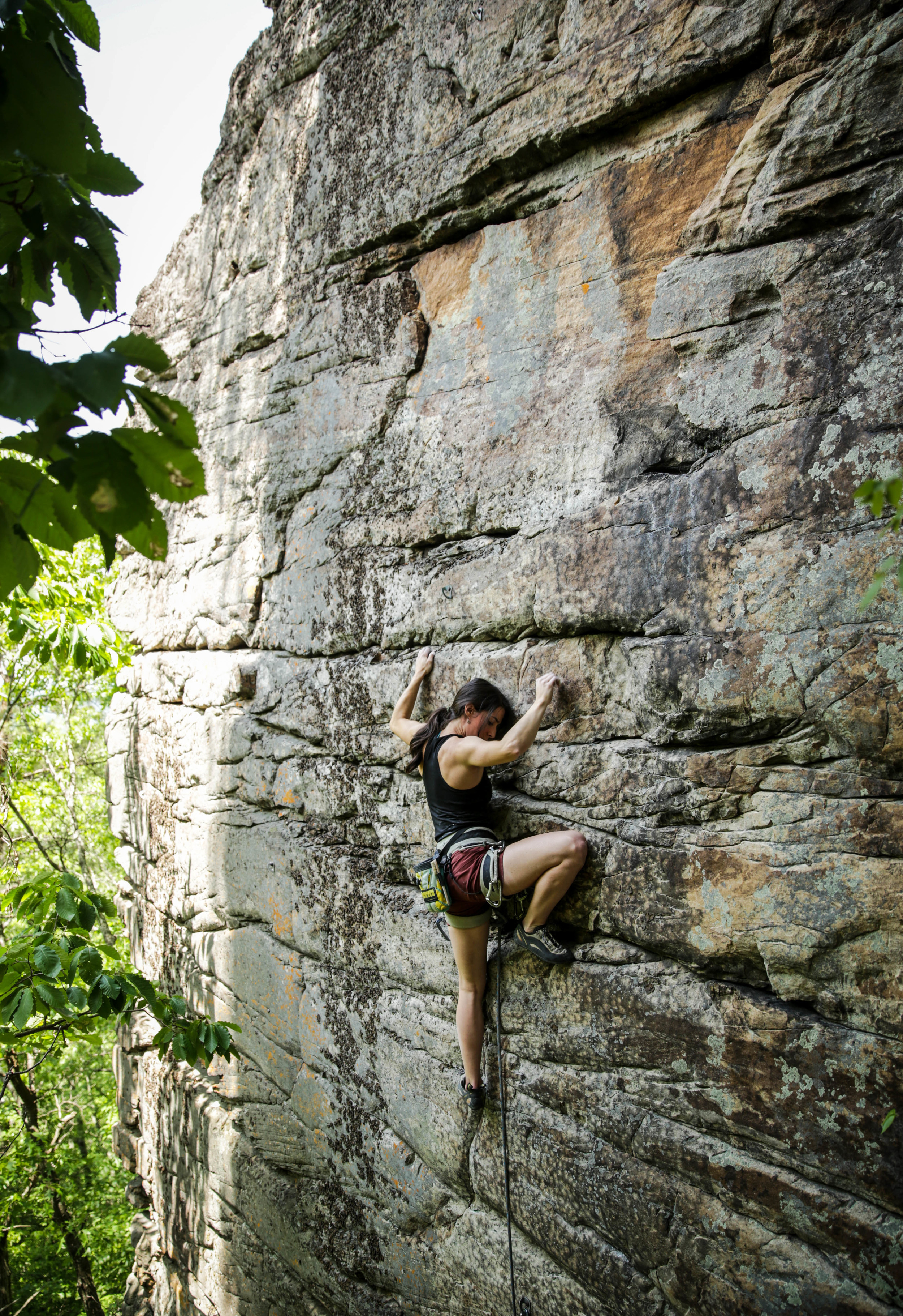 Kylie nearing the anchors on Breaking a Cold Sweat, 5.11+. Photo:  Gerry Seavo James