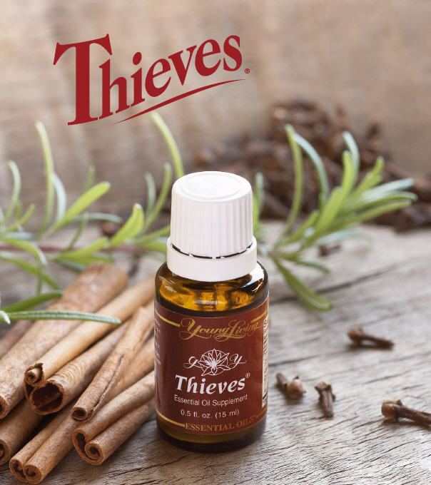"Young Living's Thieves essential oil blend was created based on the historical account of four thieves in France who protected themselves from the Black Plague with cloves, rosemary, and other aromatics while robbing victims of the killer disease.  When captured, they were offered a lighter sentence in exchange for their secret recipe.  Young Living's propreitary Thieves oil blend includes clove, cinnamon bark, rosemary, lemon, and Eucalyptus radiata and has been specially blended to offer the same kind of defense.  Thieves has been university tested and found to be hightly effective against airborne bacteria.  (Sushil K. Shahi, A.C. Sukla, et al., ""Broad Spectrum Herbal Therapy against Superficial Fungal Infections,"" Skin Pharmacol Appl Skin Physiol. 2000; 13:60-64)"