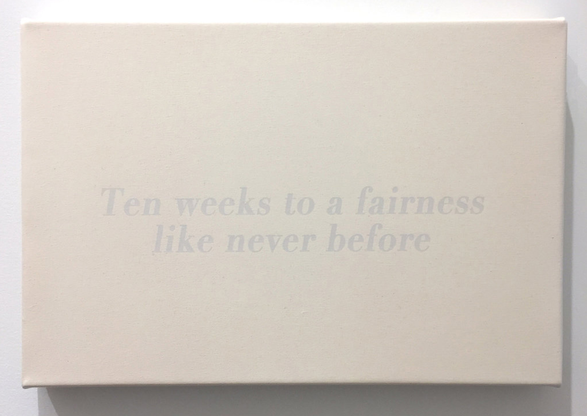 Ten Weeks to a Fairness Like Never Before, 2017 Acrylic and screen print on canvas 12 x 18 nches