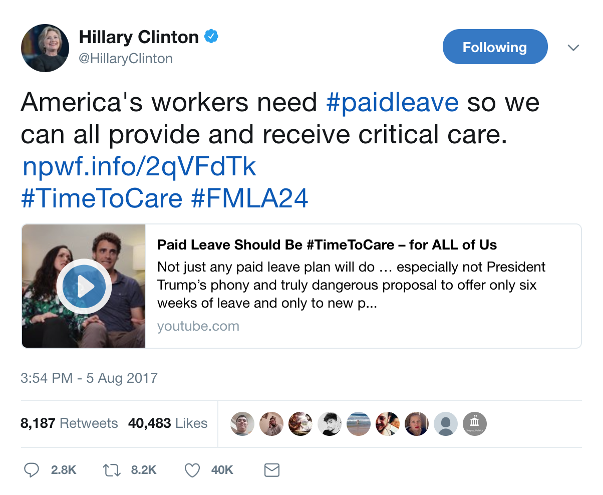 Hillary Clinton tweeted a video to support comprehensive paid leave that Sarah directed.