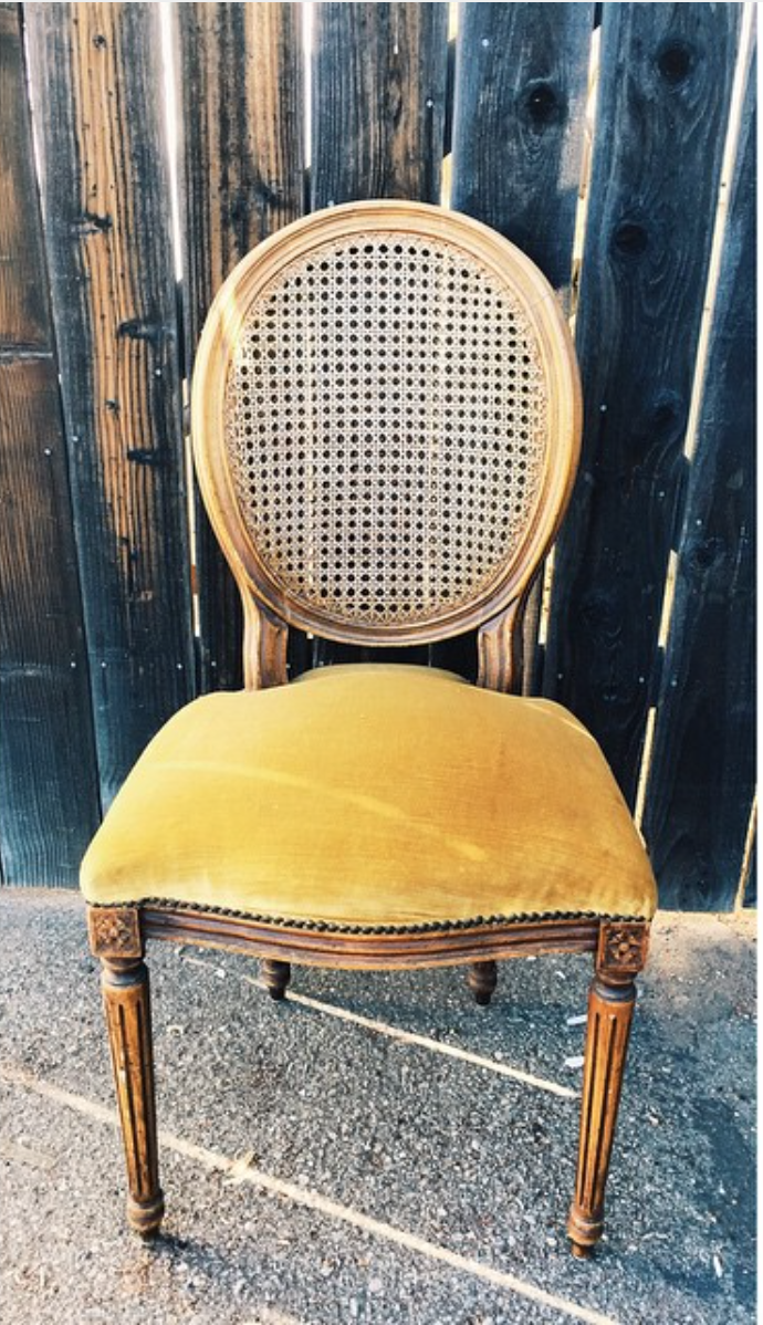 Vintage Gold Caned-Back Chair $45 (3)