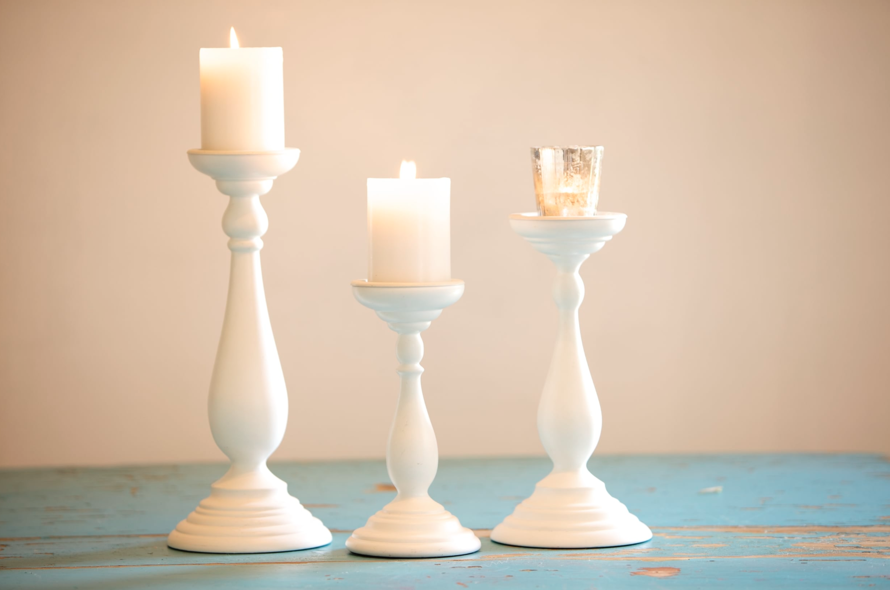 White Pillar Candle Holders $5-10