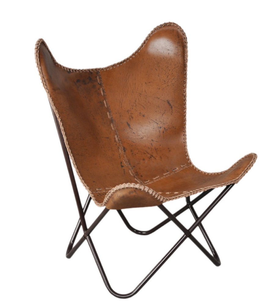 Leather Butterfly Chair (2) $65