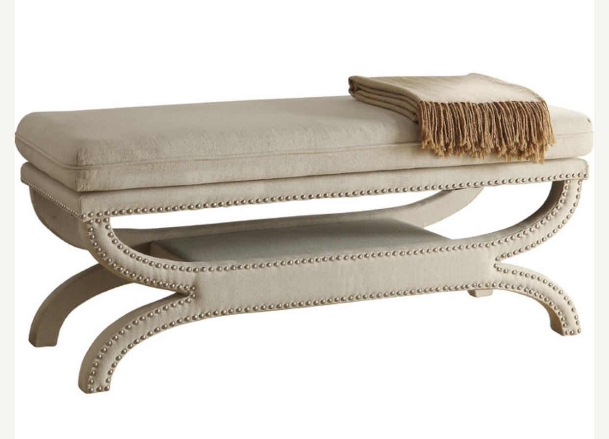 Nailhead Upholstered Bench $65 (2)