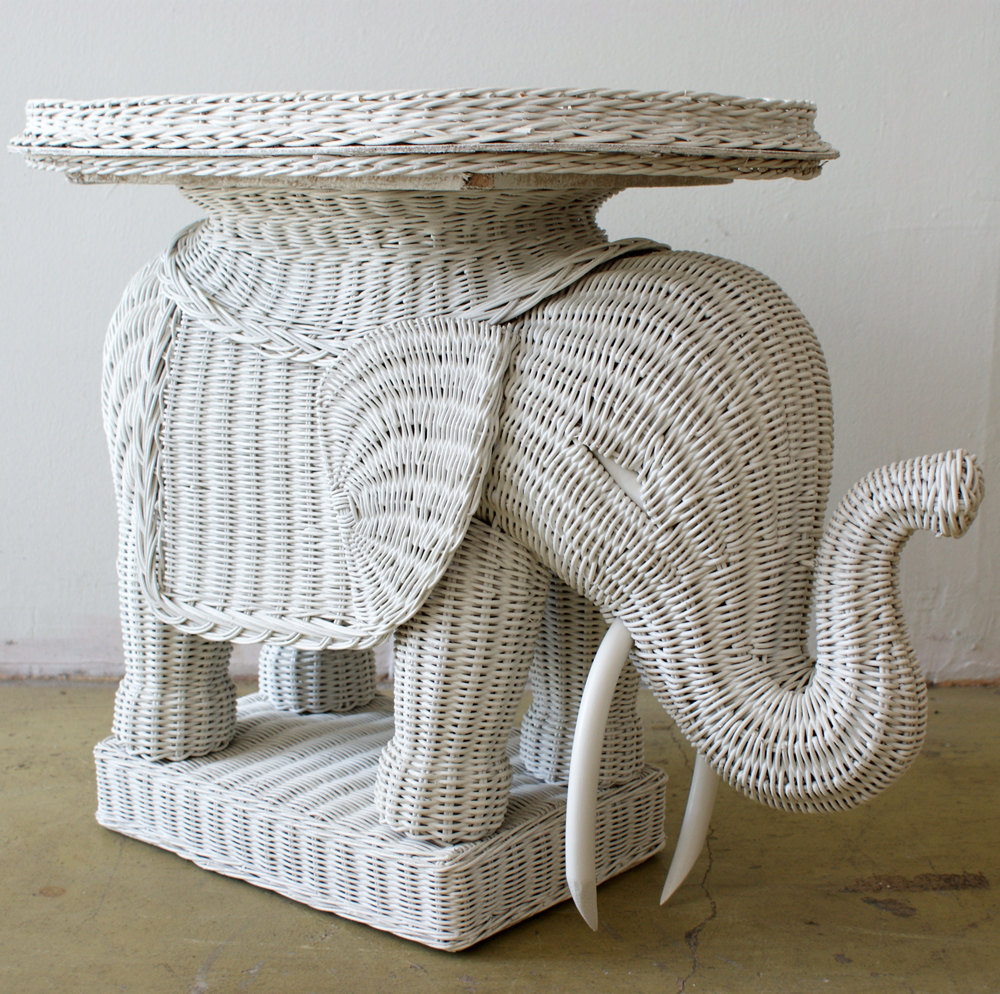 rattan elephant side table $25