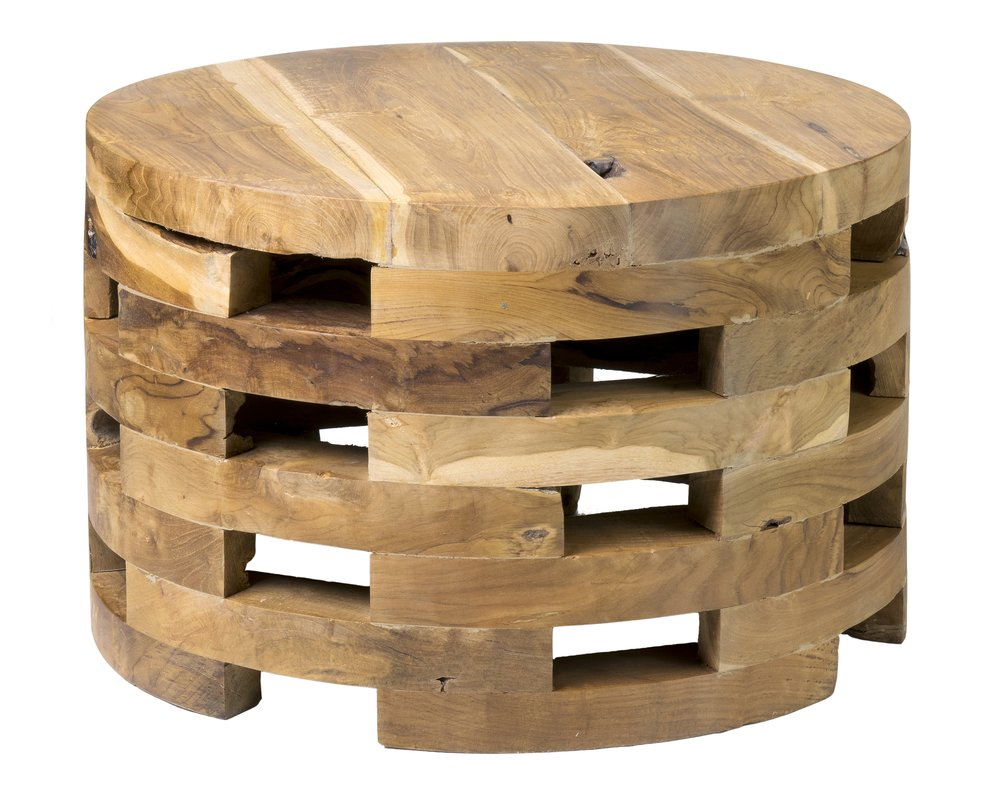 Natural Wood Slat Coffee Table $60