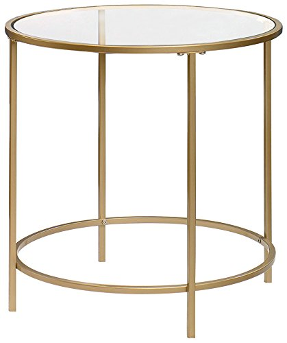 Round Gold + Glass side table $35 (2)
