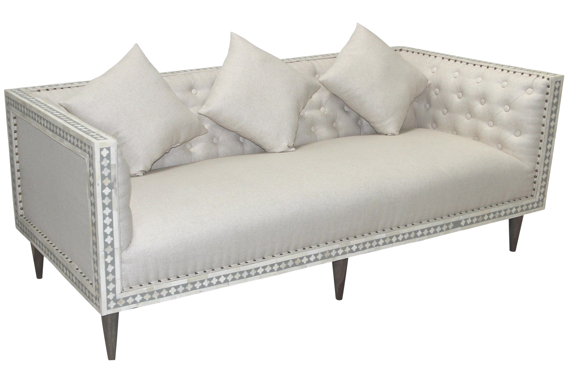 Bone Inlay Boho Sofa $325